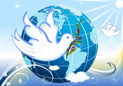 Peace to the World - our planet and a pair of white doves bringing a branch of olives tree. Raster illustration, vector file saved as EPS AI8 also available.
