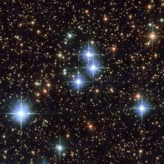 This stunning image, captured by the NASA/ESA Hubble Space Telescope's Advanced Camera for Surveys (ACS), shows part of the sky in the constellation of Sagittarius (The Archer). The region is rendered in exquisite detail — deep red and bright blue stars are scattered across the frame, set against a background of thousands of more distant stars and galaxies. Two features are particularly striking: the colours of the stars, and the dramatic crosses that burst from the centres of the brightest bodies. While some of the colours in this frame have been enhanced and tweaked during the process of creating the image from the observational data, different stars do indeed glow in different colours. Stars differ in colour according to their surface temperature: very hot stars are blue or white, while cooler stars are redder. They may be cooler because they are smaller, or because they are very old and have entered the red giant phase, when an old star expands and cools dramatically as its core collapses. The crosses are nothing to do with the stars themselves, and, because Hubble orbits above Earth's atmosphere, nor are they due to any kind of atmospheric disturbance. They are actually known as diffraction spikes, and are caused by the structure of the telescope itself. Like all big modern telescopes, Hubble uses mirrors to capture light and form images. Its secondary mirror is supported by struts, called telescope spiders, arranged in a cross formation, and they diffract the incoming light. Diffraction is the slight bending of light as it passes near the edge of an object. Every cross in this image is due to a single set of struts within Hubble itself! Whilst the spikes are technically an inaccuracy, many astrophotographers choose to emphasise and celebrate them as a beautiful feature of their images.